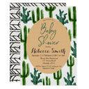 Cactus Greenery Baby Shower Invitation Modern