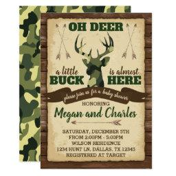 Camouflage Deer Baby Shower Invitation Invite