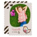 Candy Damask Bird Photo Girl Birthday Party Invite