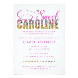 Candy Theme Sweet Caroline Baby Shower Invitation