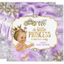 Carriage Princess Baby Shower Purple Blonde Invitations