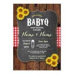 Chalk BaByQ BBQ Baby Shower Red Wood Invite