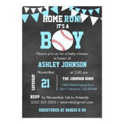 Chalkboard Baseball Baby Shower  - Blue