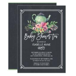 Chalkboard Floral Tea Party Neutral Baby Shower