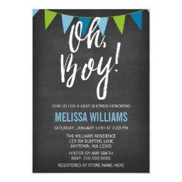 Chalkboard Green Blue Bunting Boy Baby Shower