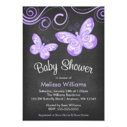 Chalkboard Purple Butterfly Swirls Baby Shower Invitations