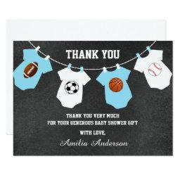 Chalkboard Sports Theme THANK YOU baby shower