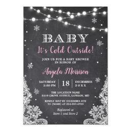 Chalkboard String Lights Baby It's Cold Outside Invitation