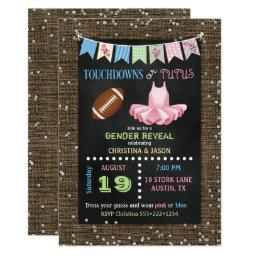 Chalkboard Touchdowns Or Tutus Gender Reveal Invitations