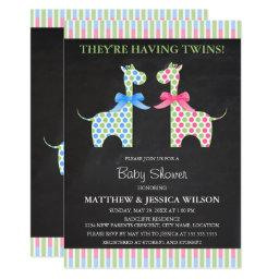 Chalkboard Twin Boy And Girl Giraffe Baby Shower