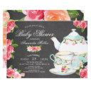 Chalkboard Watercolor Floral Tea Baby Shower Invitation