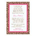 Cheetah Girl Animal Print Baby Shower Invitationss