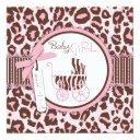 Cheetah Girl Invitations Square Pink B