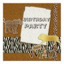 Cheetah Lion Safari Zoo Birthday Party Invitation