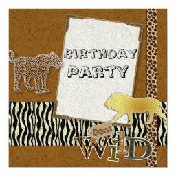 Cheetah Lion Safari Zoo Birthday Party Invitations