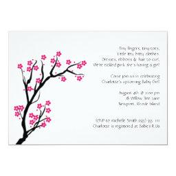 Cherry Blossom; Baby Shower Invitation