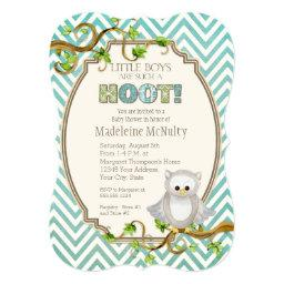 Chevron Striped Hoot Owl Little Boys Baby Shower