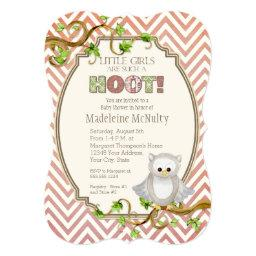 Chevron Striped Hoot Owl Little Girls Baby Shower