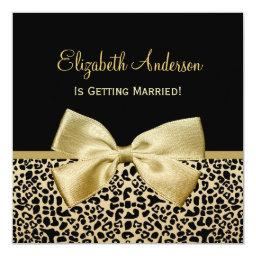 Chic Black and Gold Leopard Print Baby Shower