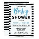 Chic Black Stripes Blue Baby Shower