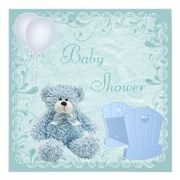 Chic Blue Teddy & Crib Baby Boy Shower