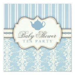 Chic Damask & Stripe Baby Shower Tea Invitations