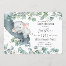 Chic Elephant Leafy Greenery Baby Shower Girl Invitation