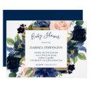 Chic Floral | Navy Blush Pink Wreath Baby Shower Invitation