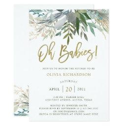 Chic Foliage   Twins Baby Shower And Gold Script Invitation