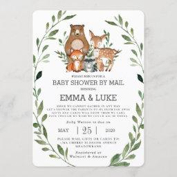 Chic Greenery Woodland Animals Baby Shower By Mail Invitation