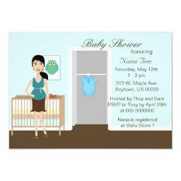 Chic Modern Mom in Nursery Baby Shower Invite