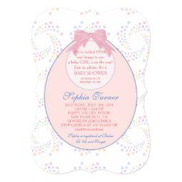 Chic Pink Bib Ribbon Girl BABY SHOWER Invite