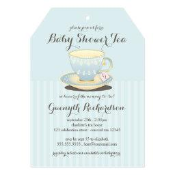 Chic Teacup In Blue Baby Shower Tea Party