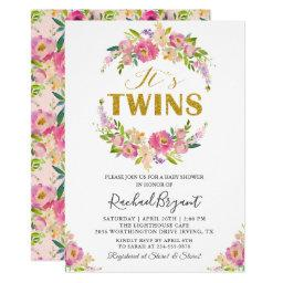Chic Twins Pink Floral Baby Shower Invitations