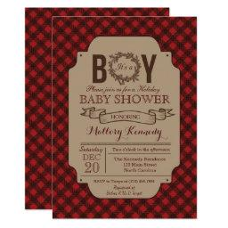 Christmas Holiday Boy Plaid Baby Shower