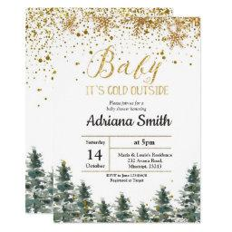 Christmas Tree Baby Shower Invitation Winter