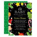 Christmas Tree Holly Berries Cute Baby Shower Invitation