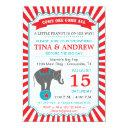 Circus Elephant Baby Shower Red & Teal Invitation