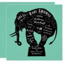 Circus Elephant Mint Green Baby Shower Invitation