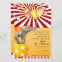 Circus Elephant On Ball Carnival Baby Shower Party Invitation
