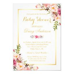 Classy Chic Floral Golden Frame Baby Shower
