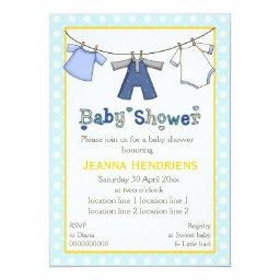 Clothesline baby boy shower personalized