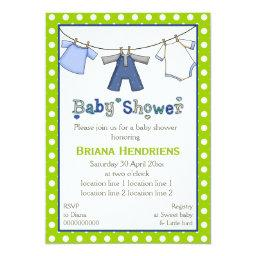 Clothesline Baby Boy Shower Personalized Invitations