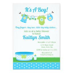 Clothesline Baby Shower Invitations Baby Boy