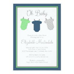 Clothesline Navy Green Baby Boy Shower Invitations