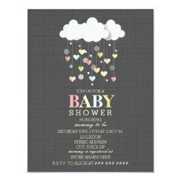 Clouds  Hearts Neutral Baby Shower