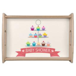 Colorful Cupcake Tree Baby Shower Serving Tray
