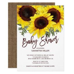 Colorful Fall Sunflowers Neutral Baby Shower