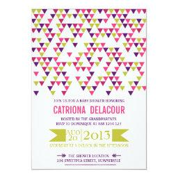 Colorful Geometric Triangle Baby Shower Invitations