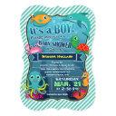 Colorful Sea Creatures; Boy Baby Shower Invitations
